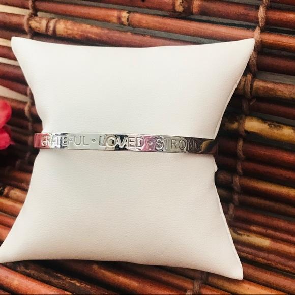 Talbots Silver Tone Bangle Grateful Loved Strong
